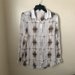 Bella Dahl Shirt Blouse White Plaid Long Sleeve